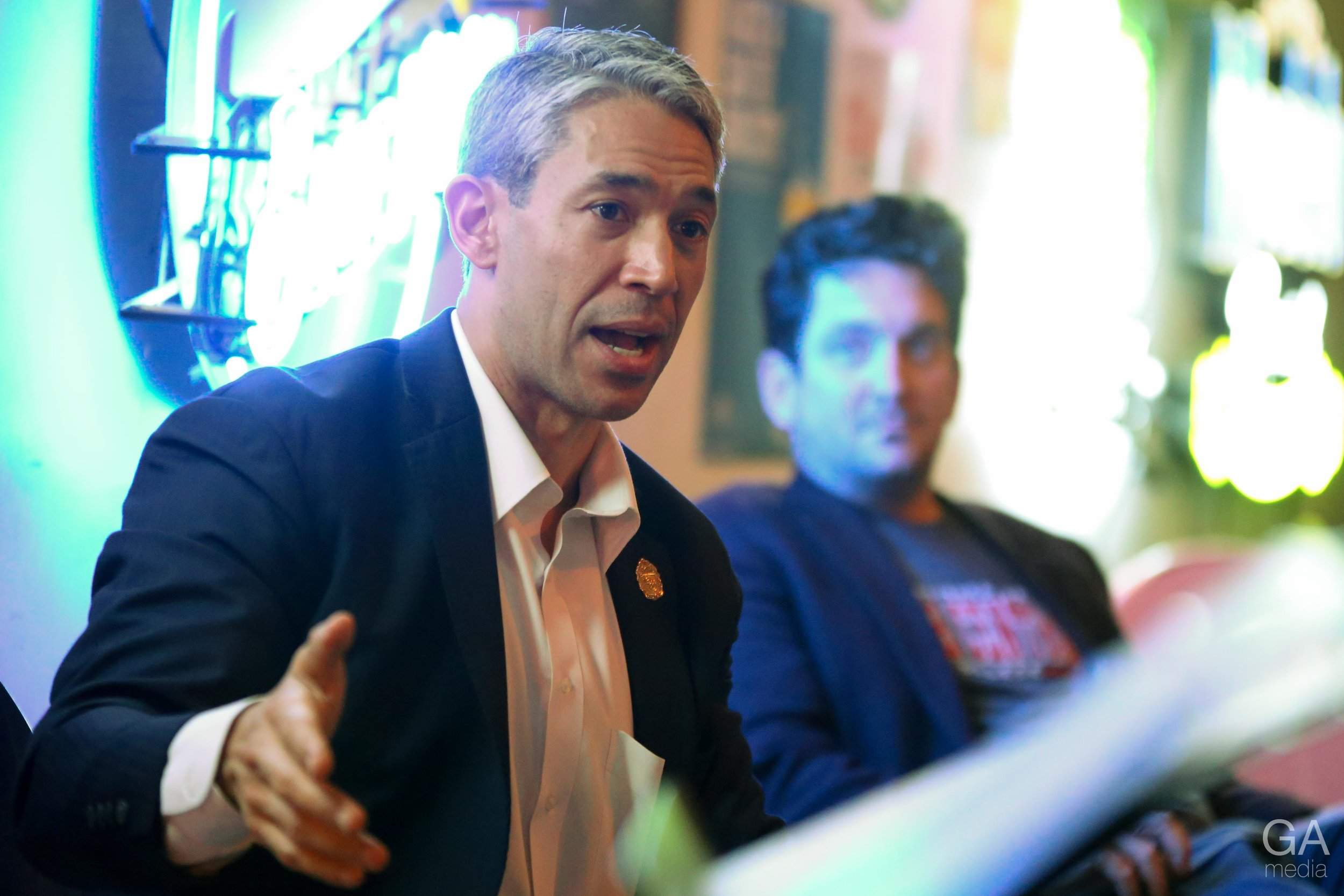 Mayor Ron Nirenberg speaks at Pub Theology. (Photo Credit:  GA Media Productions )