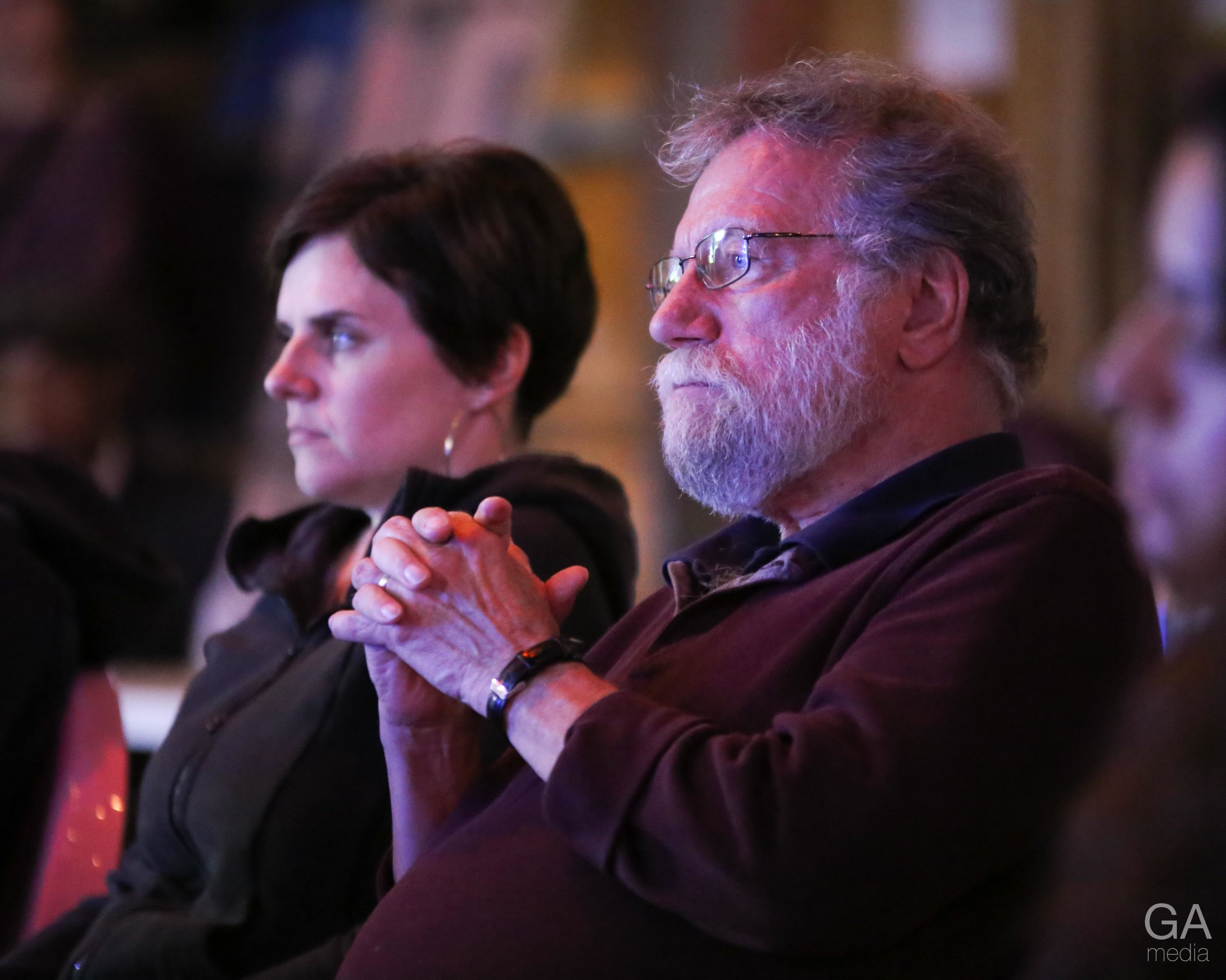 Pub theology attendees listening attentively. (Photo:  GA Media Productions)