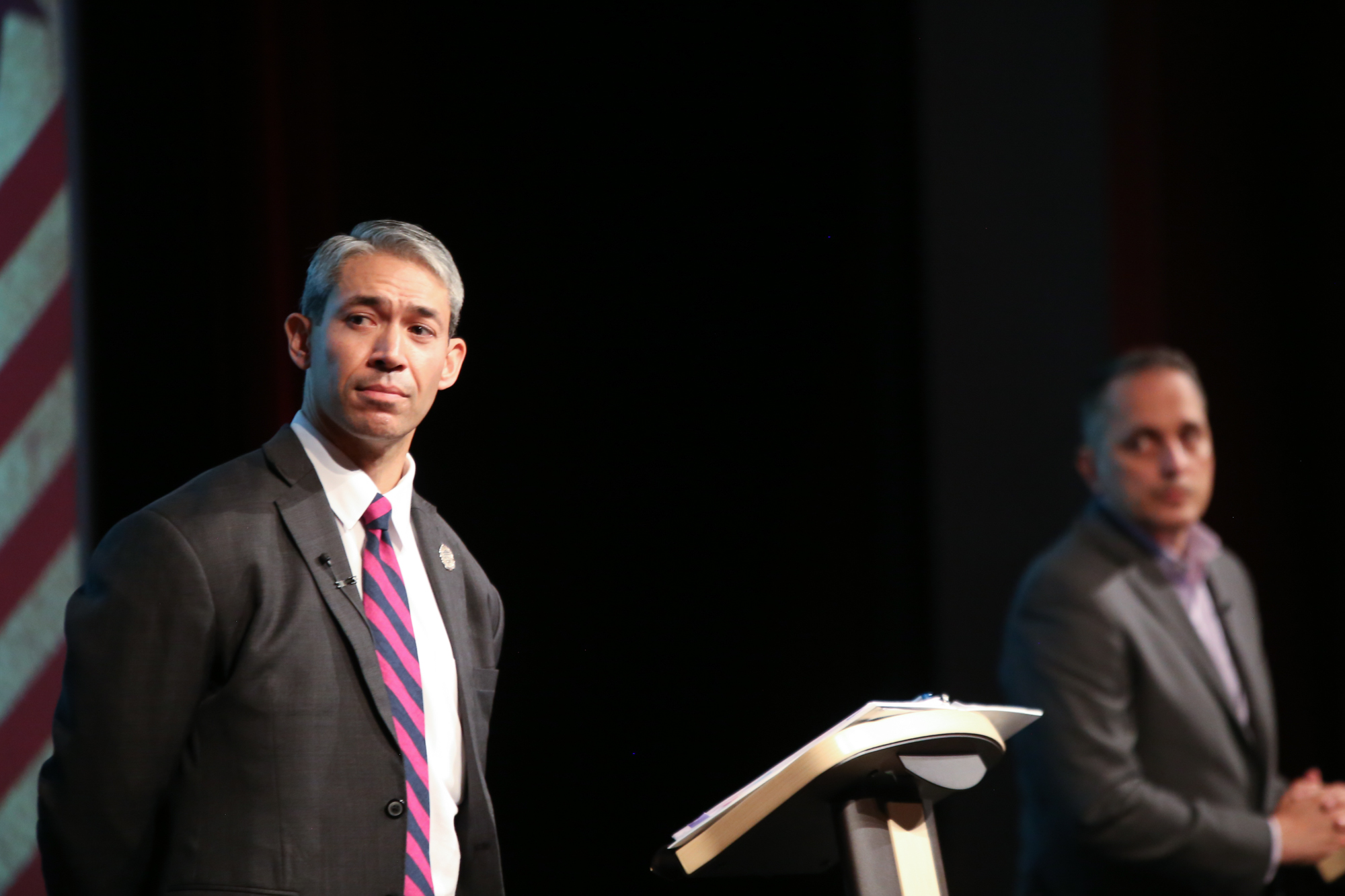 Mayor Ron Nirenberg and Candidate Greg Brockhouse prepare to face off in the AARP Debate. (Photo Credit:  GA Media Productions )