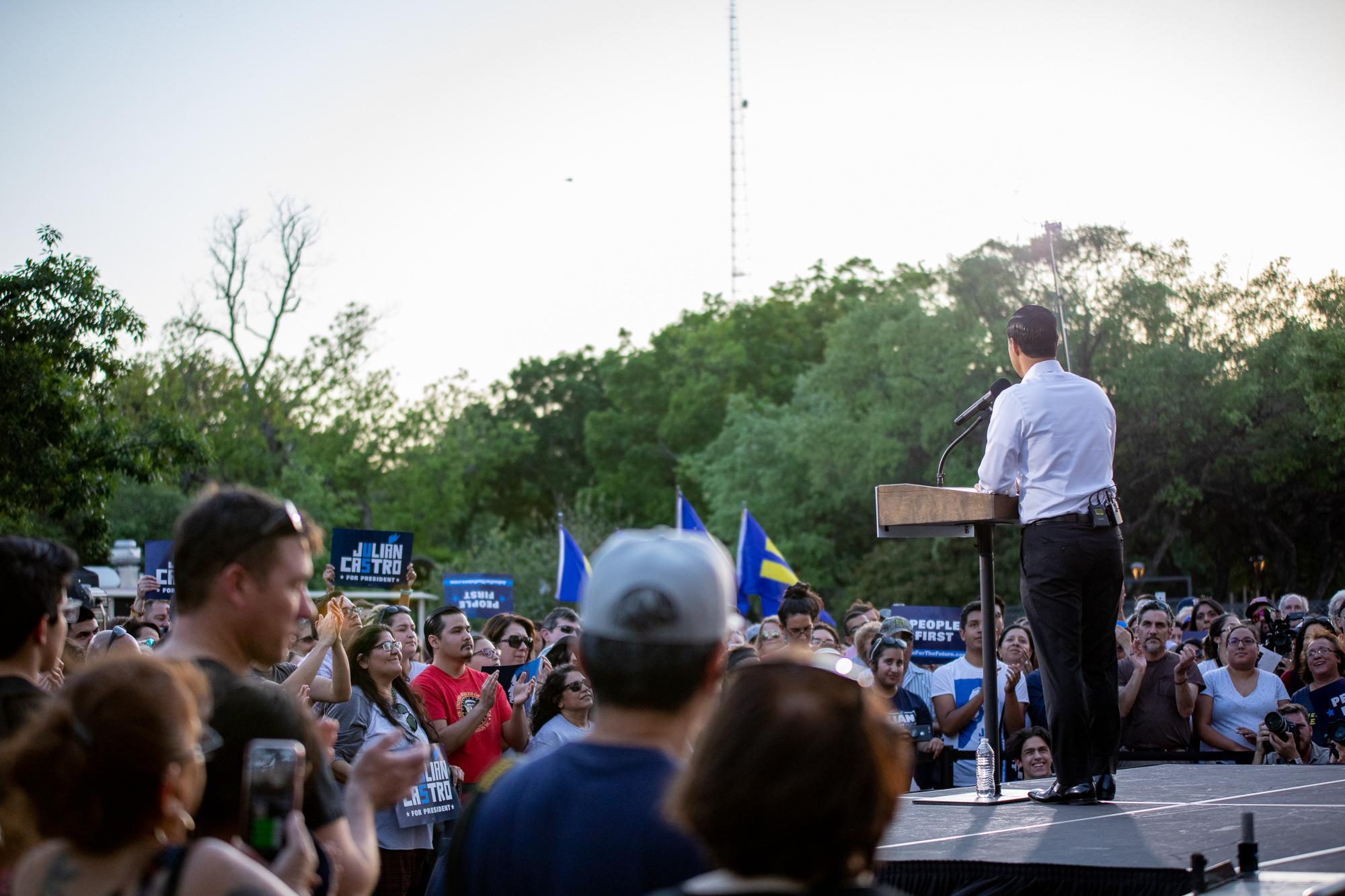 Julián Castro addresses the crowd. (Photo by:  Joel Pena , Photographer - The San Antonio Sentinel)