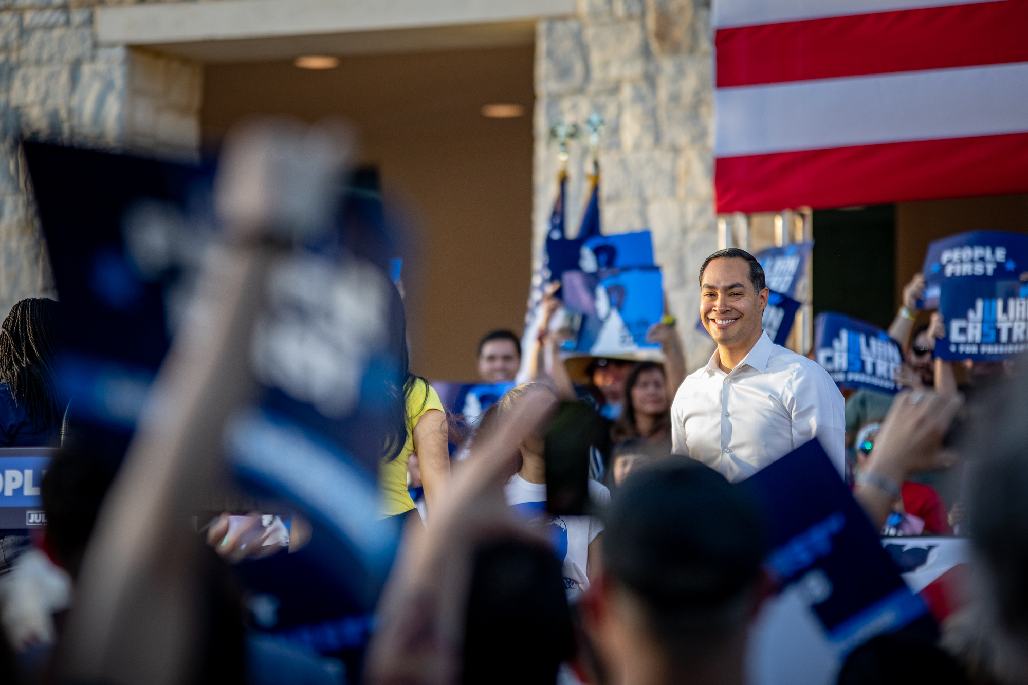 Julian Castro steps up to the podium. (Photo by:  Joel Pena , Photographer - The San Antonio Sentinel)