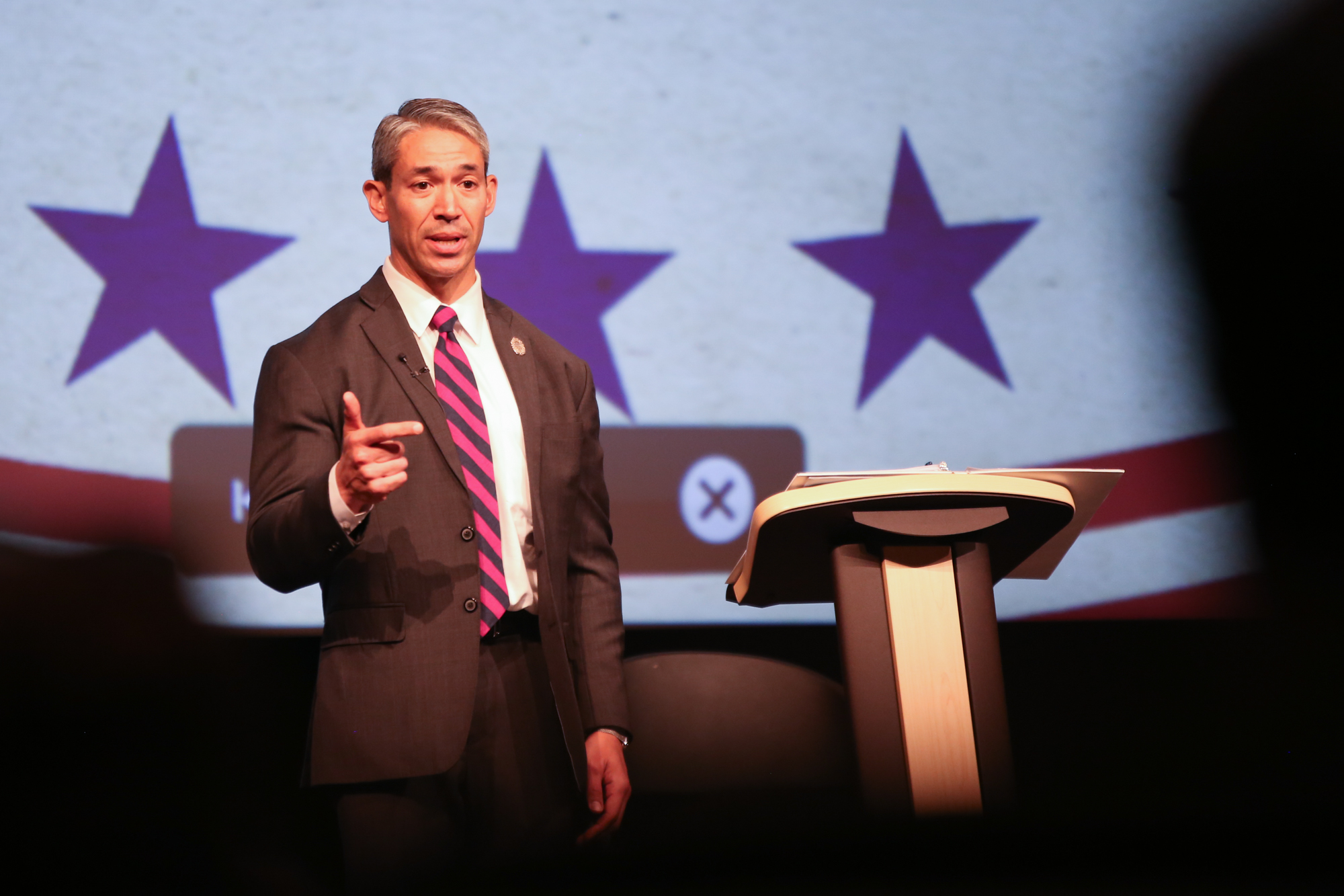 Nirenberg responds to questioning at the AARP Debate. (Photo Credit:  GA Media Productions )