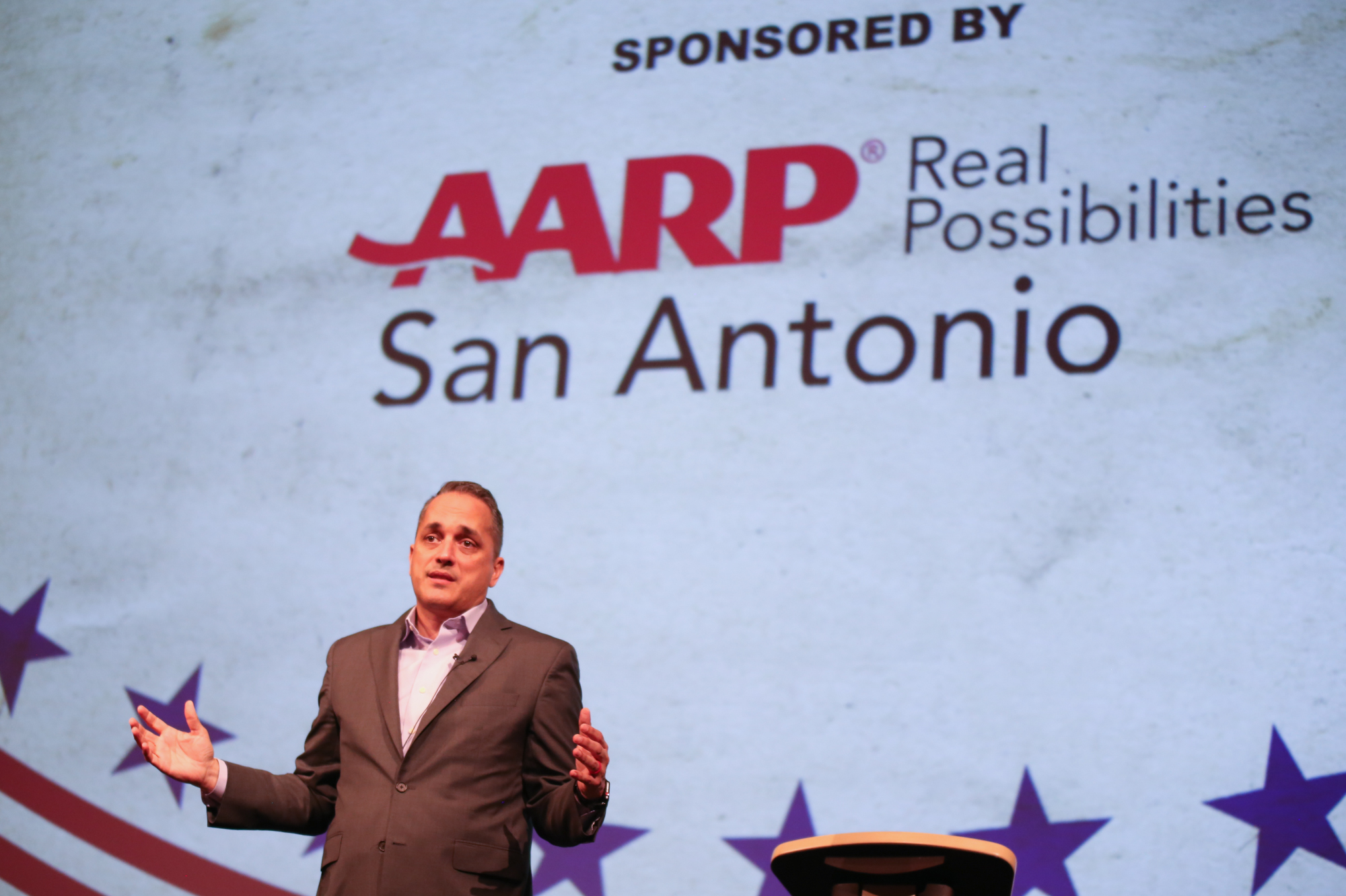 Brockhouse gives his opening statement at the AARP Debate. (Photo Credit:  GA Media Productions )