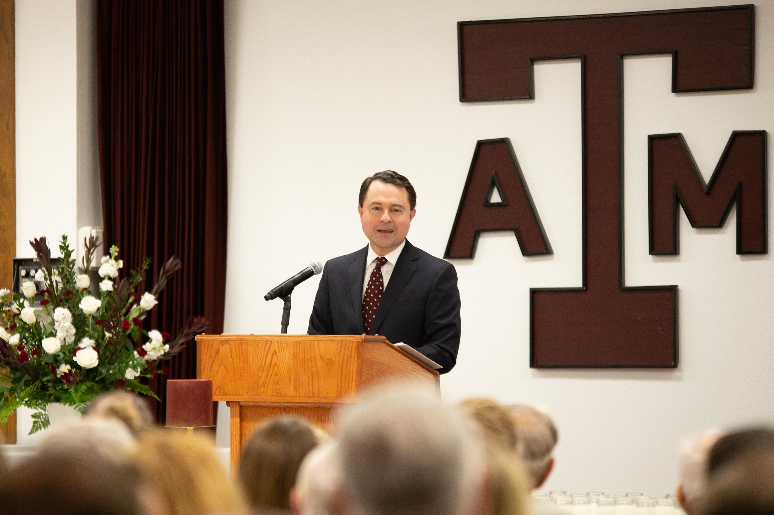 Todd Staples ('84) speaks during Muster. (Photo by  GA Media Media Productions .)