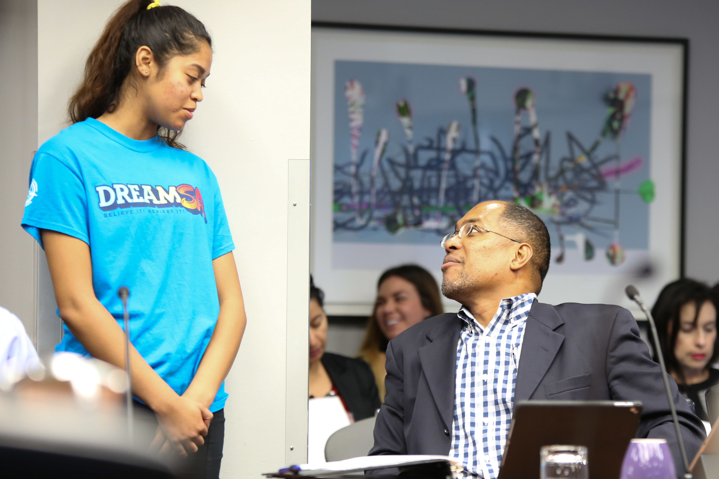 District 2 Councilman Art Hall speaks with a DreamSA student. (Photo Credit:  GA Media Productions )