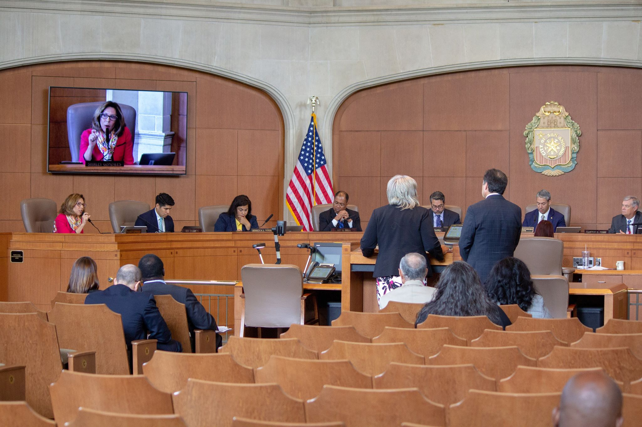 The council deliberates. (Photo by  William Timmerman  - Photographer, The San Antonio Sentinel)
