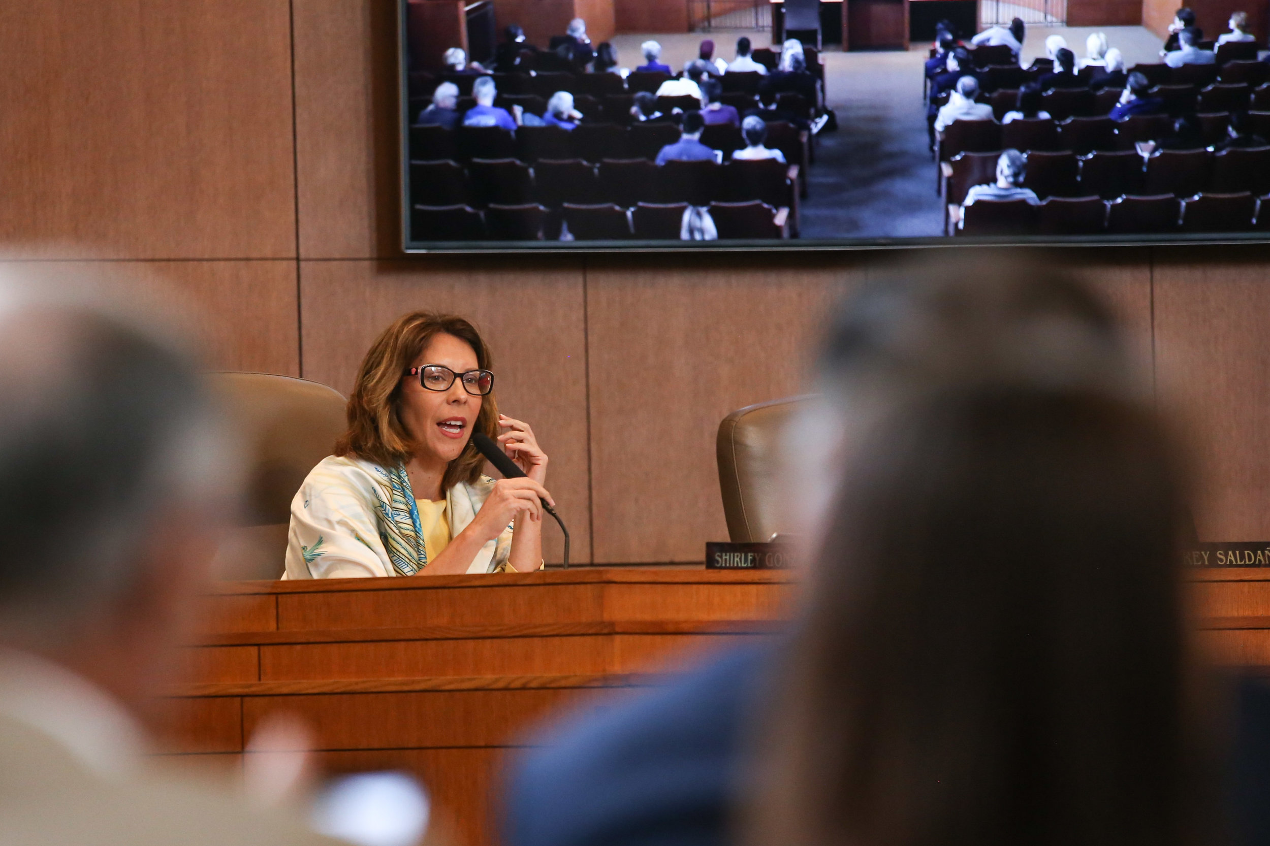Shirley Gonzales speaks at the A-Session. (Photo by  Jonathan Guajardo )