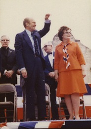 Gerald Ford (Left) & Lila Cockrell (Right) on April 9, 1976.