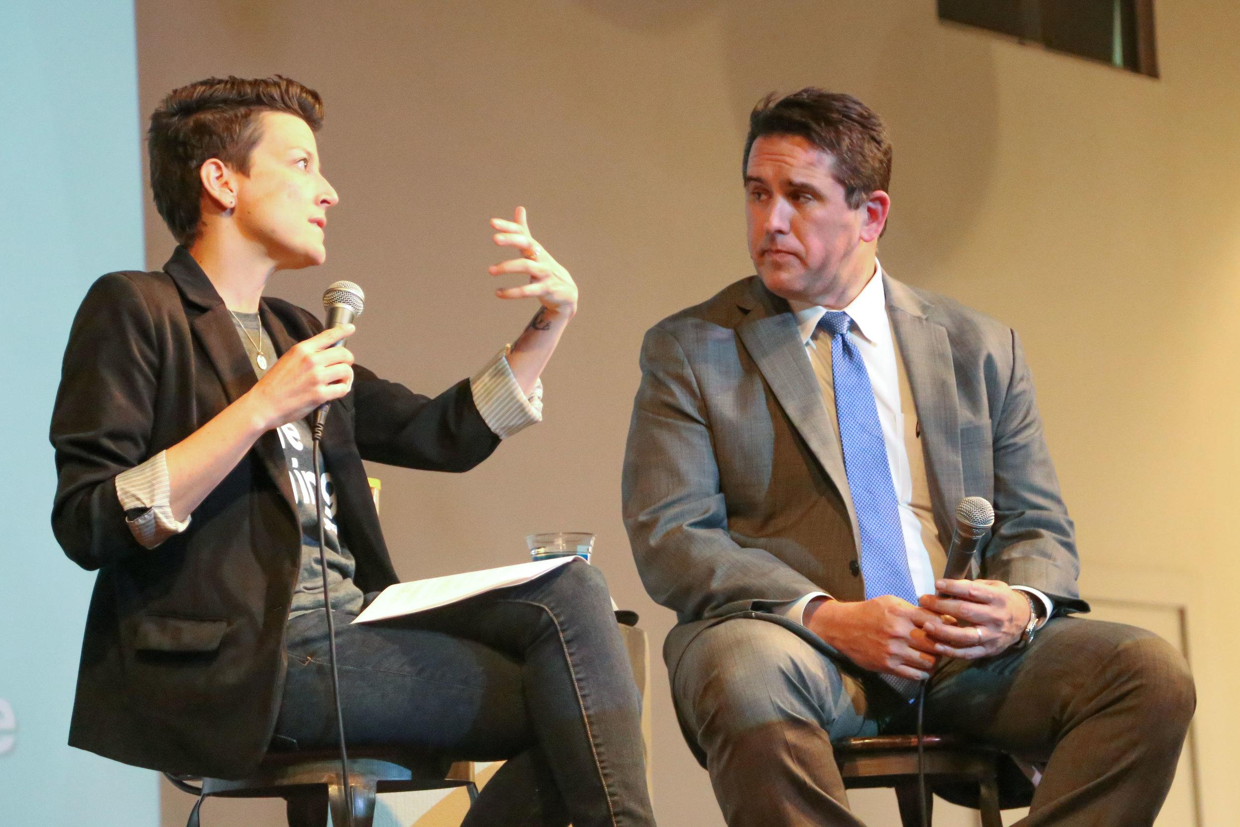 SA 2020 CEO Molly Cox interviews City Manager Eric Walsh. (Photos by:  GA Media Media Productions .)