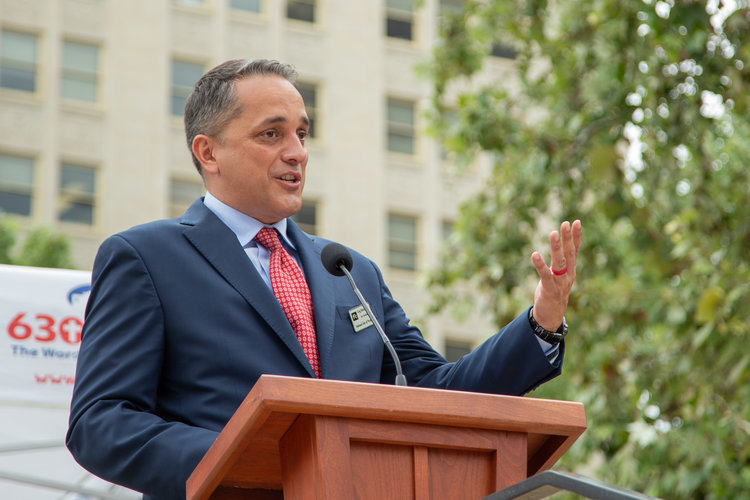 Councilman Greg Brockhouse speaks at the National Day of Prayer. (Photo by:  Jonathan Guajardo  - Editor, SA Sentinel)