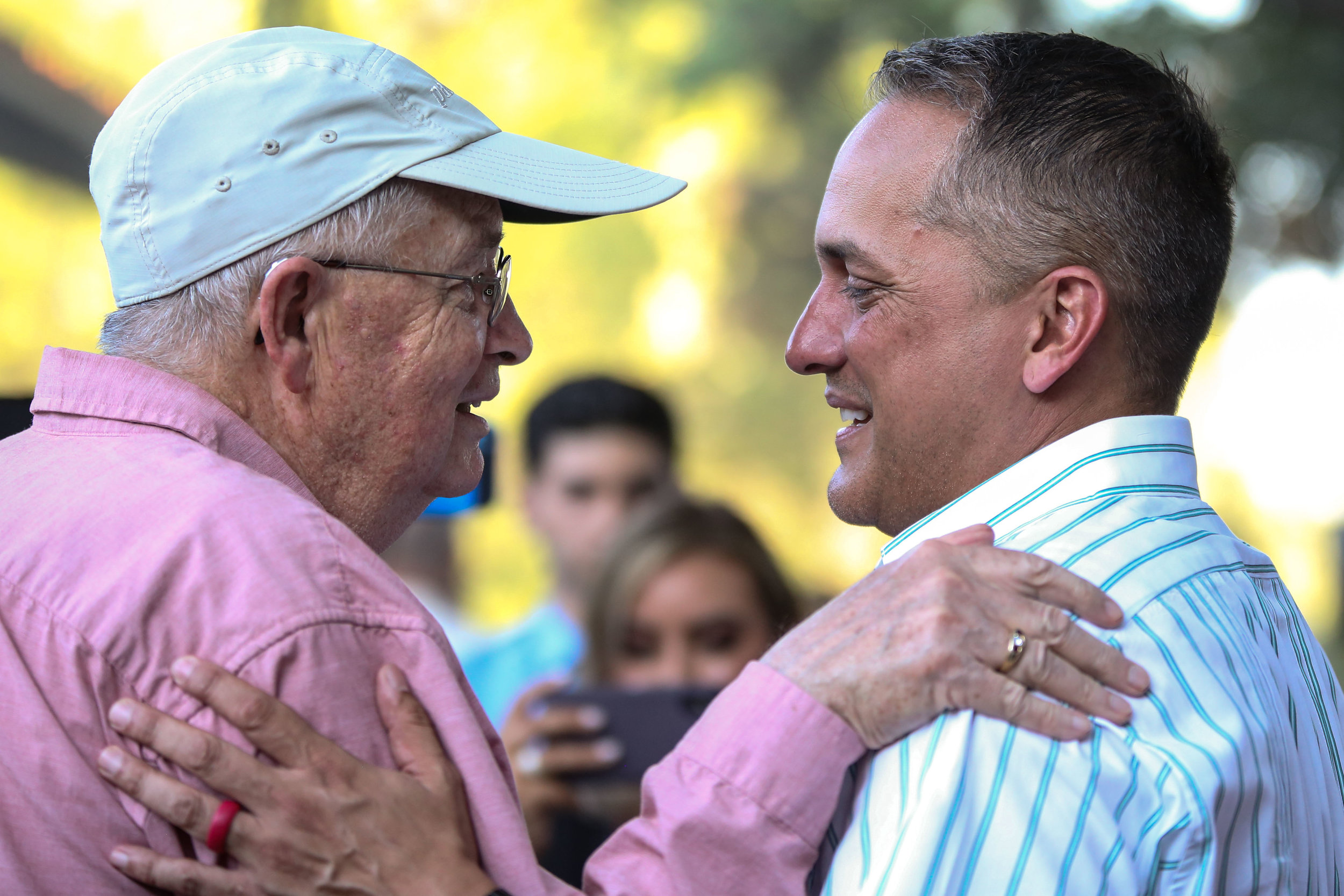 Brockhouse embraces a supporter. (Photo by  Jonathan Guajardo .)
