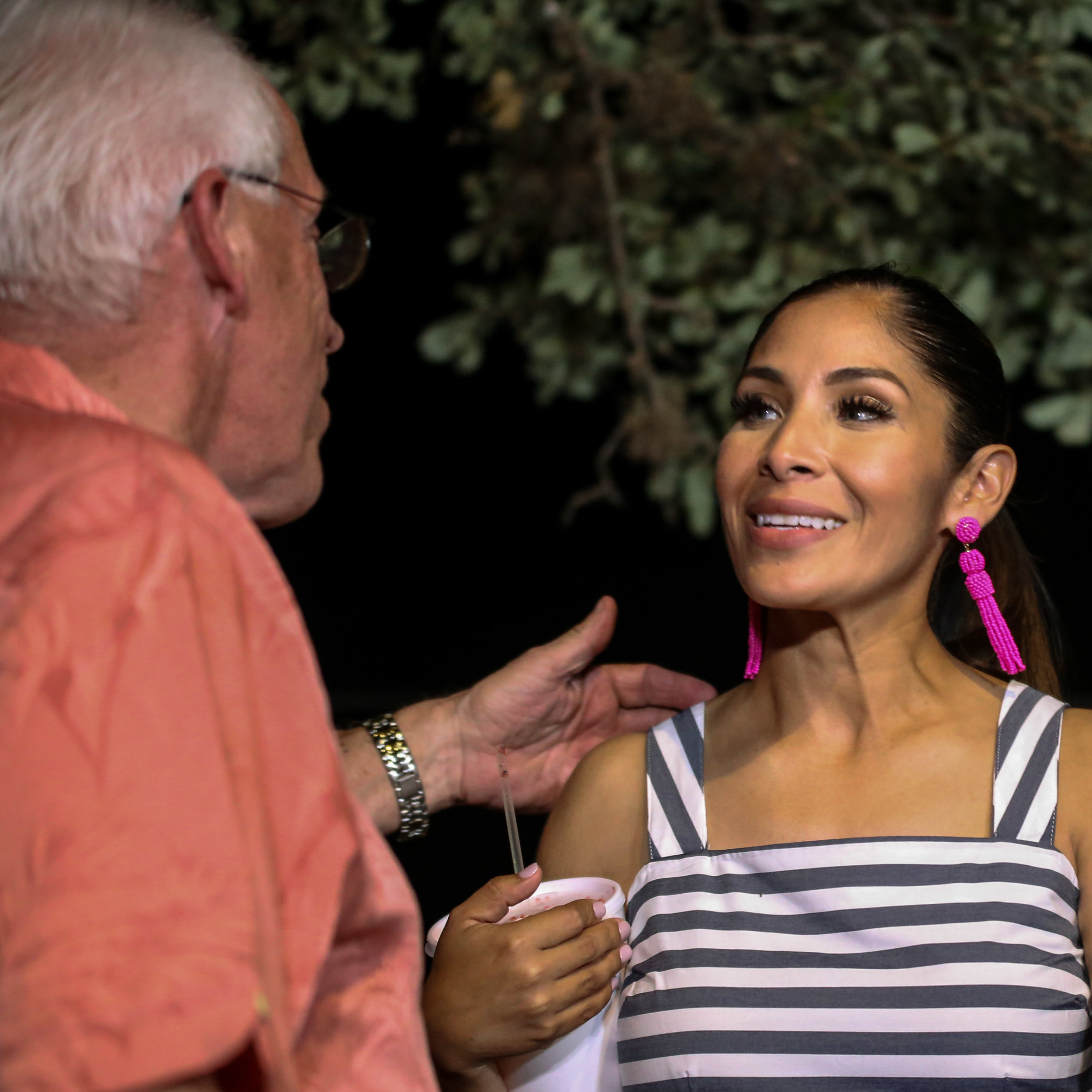 Greg Brockhouse's wife, Annalisa Brockhouse greets her father-in-law at the election party. (Photo by  Jonathan Guajardo )
