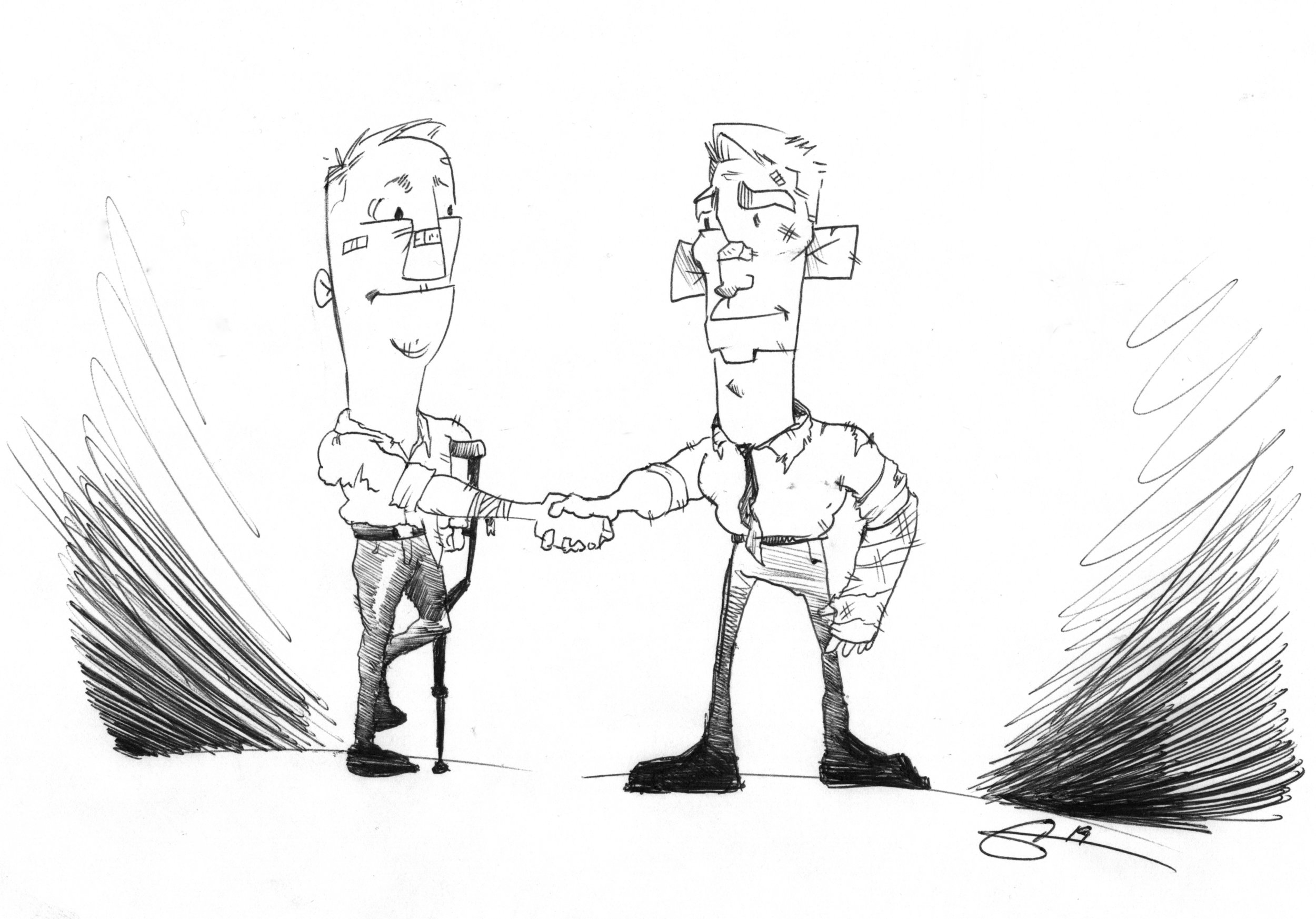 Greg Brockhouse and Ron Nirenberg shake hands following a tumultuous election cycle. (Illustration by Christopher Ochoa.)
