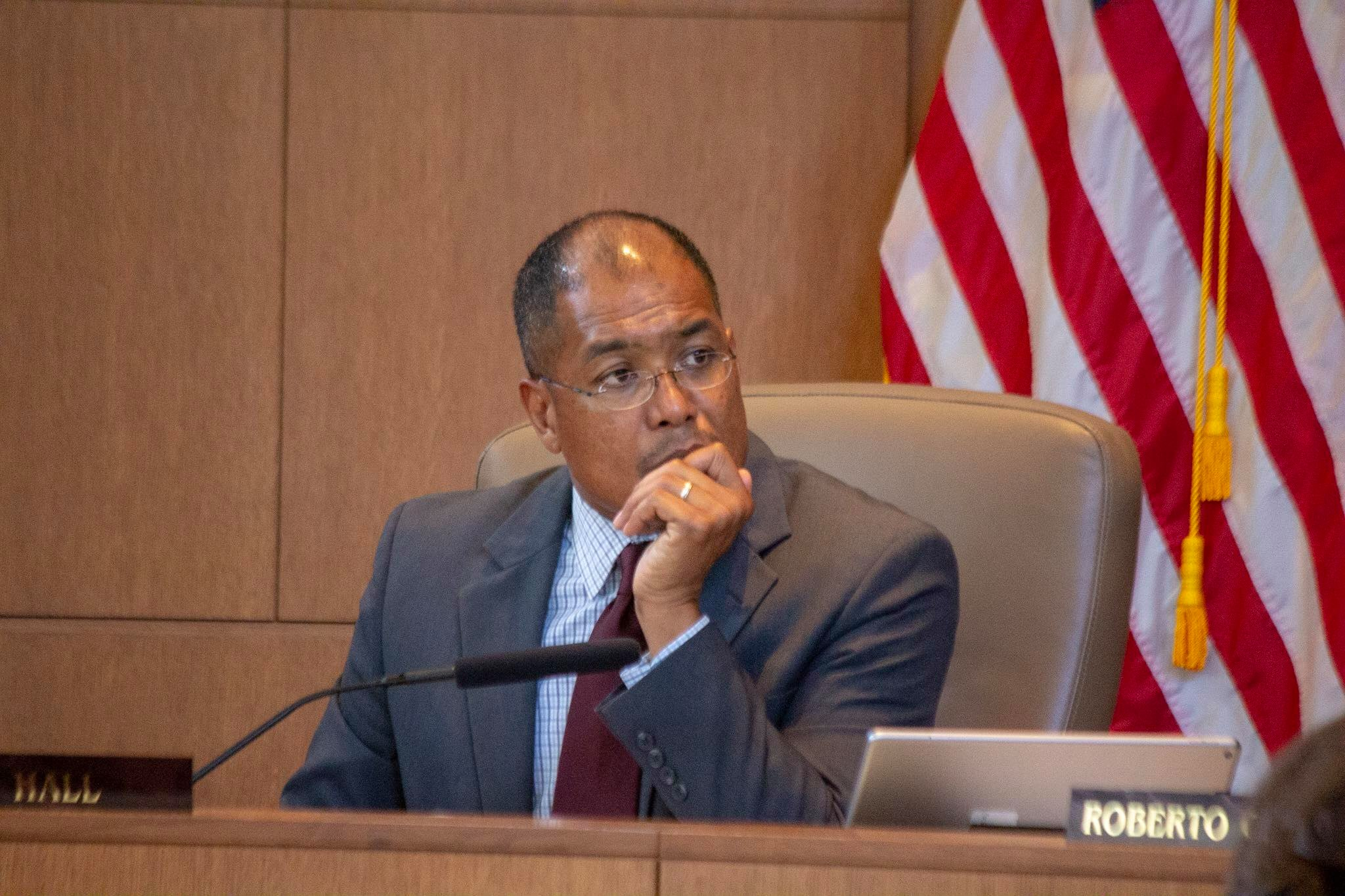Councilman Art Hall listens to concerns. (Photo by  William Timmerman )