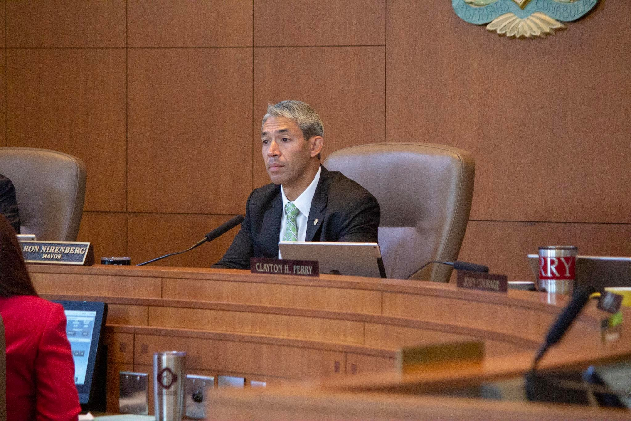 Mayor Nirenberg sits in the A-Session meeting. (Photo by  William Timmerman )