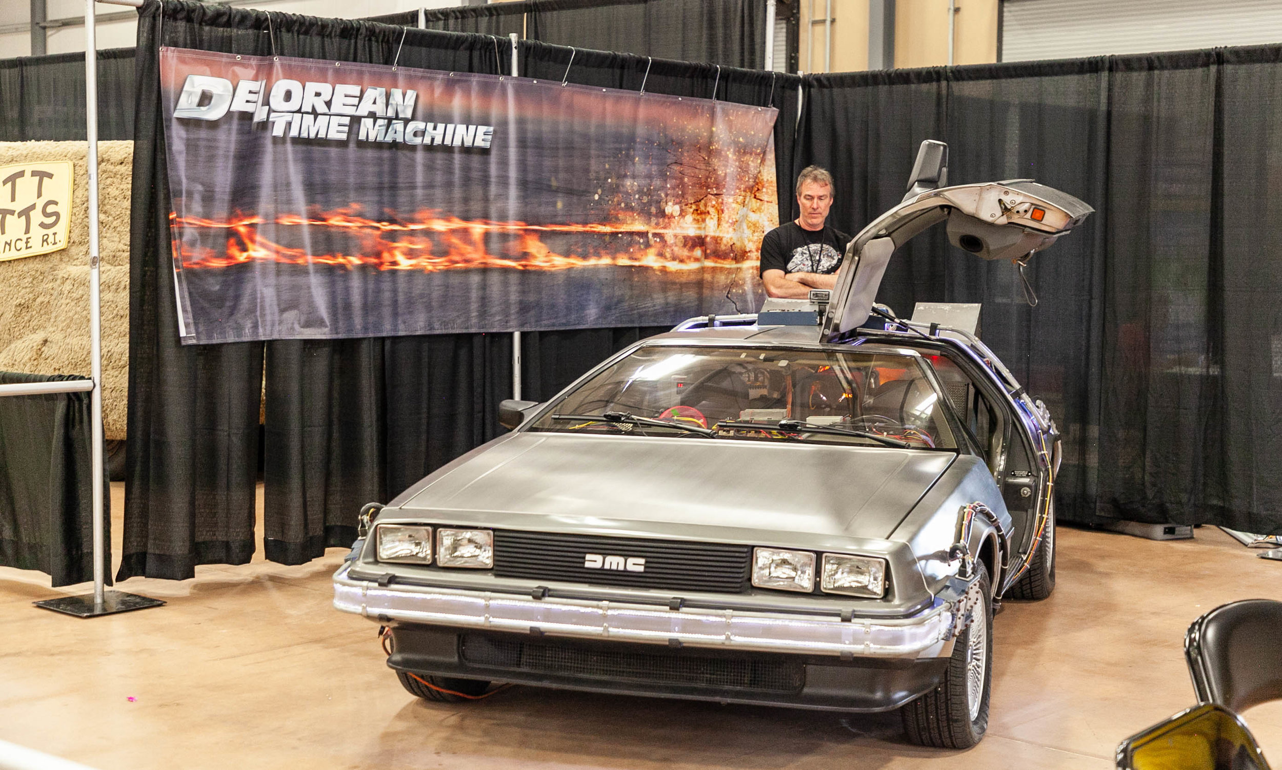 The Back to the Future DeLorean sits on display at the Fan Fest. (Photo by Luis Vazquez.)