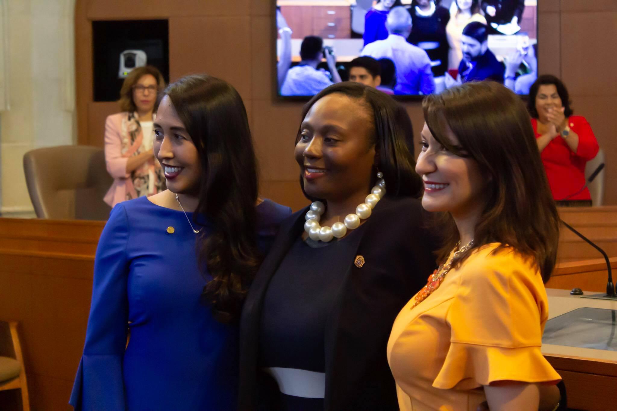 From Left to Right: Melissa Cabello Havrda, Jada Andrews-Sullivan, Dr. Adriana Rocha Garcia. (Photo by  William Timmerman  - Photographer, San Antonio Sentinel)