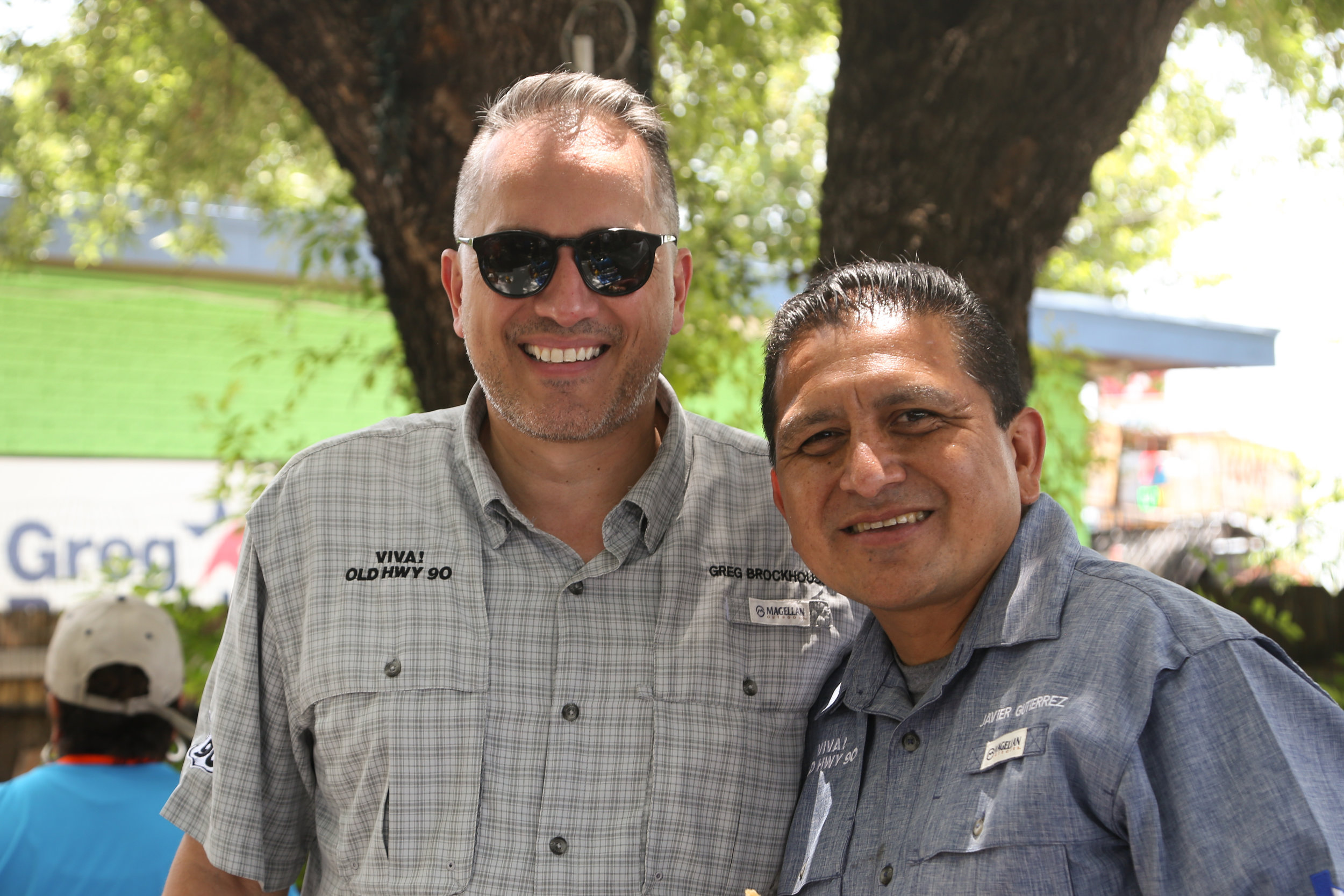 Greg Brockhouse poses with Javier Gutierrez at the Thank You Party. (Photo by  Jonathan Guajardo .)