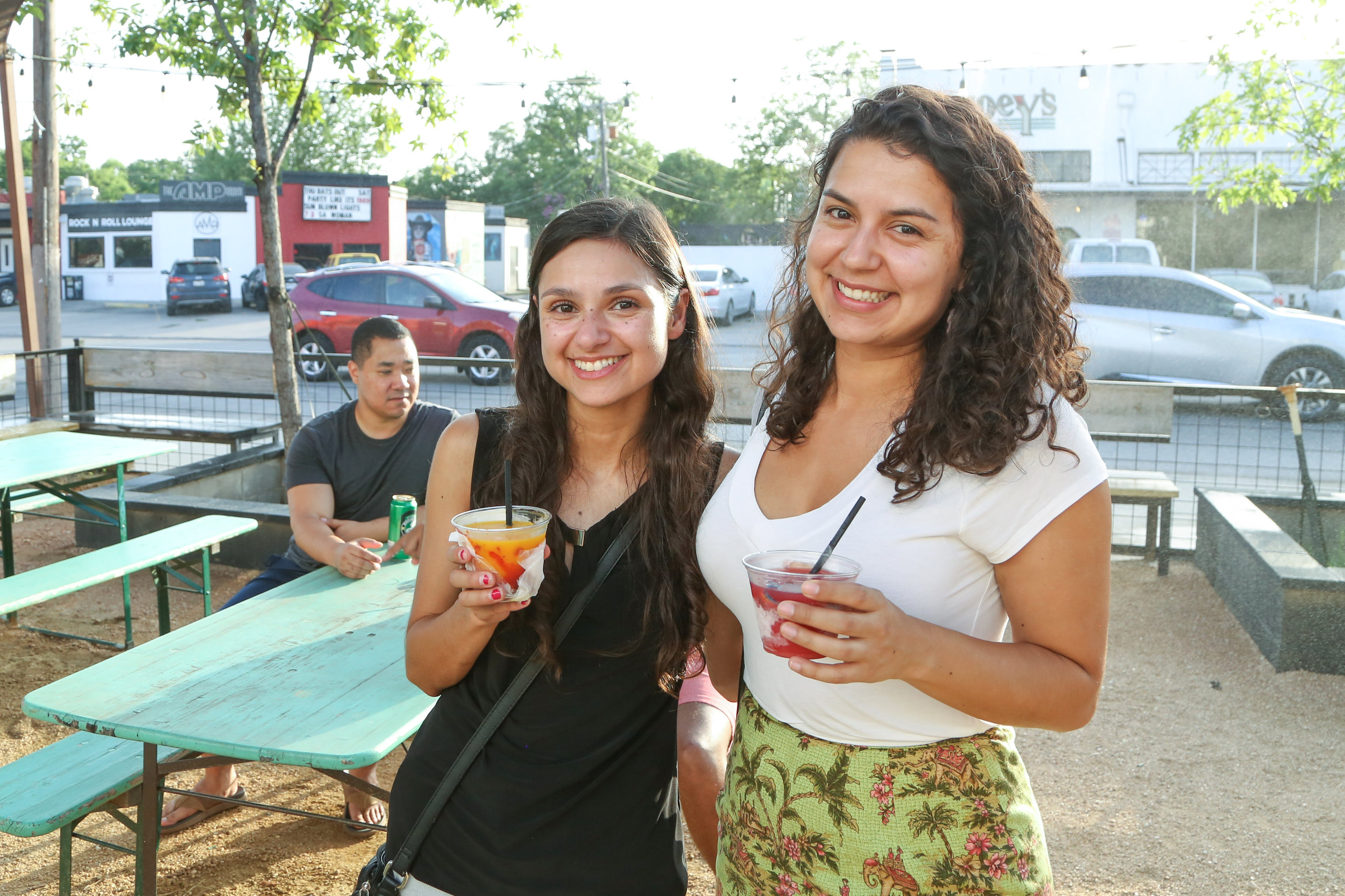 Julie Moore and Sarah Olivarez enjoy the evening at Rumble. (Photo by  Jonathan Guajardo )