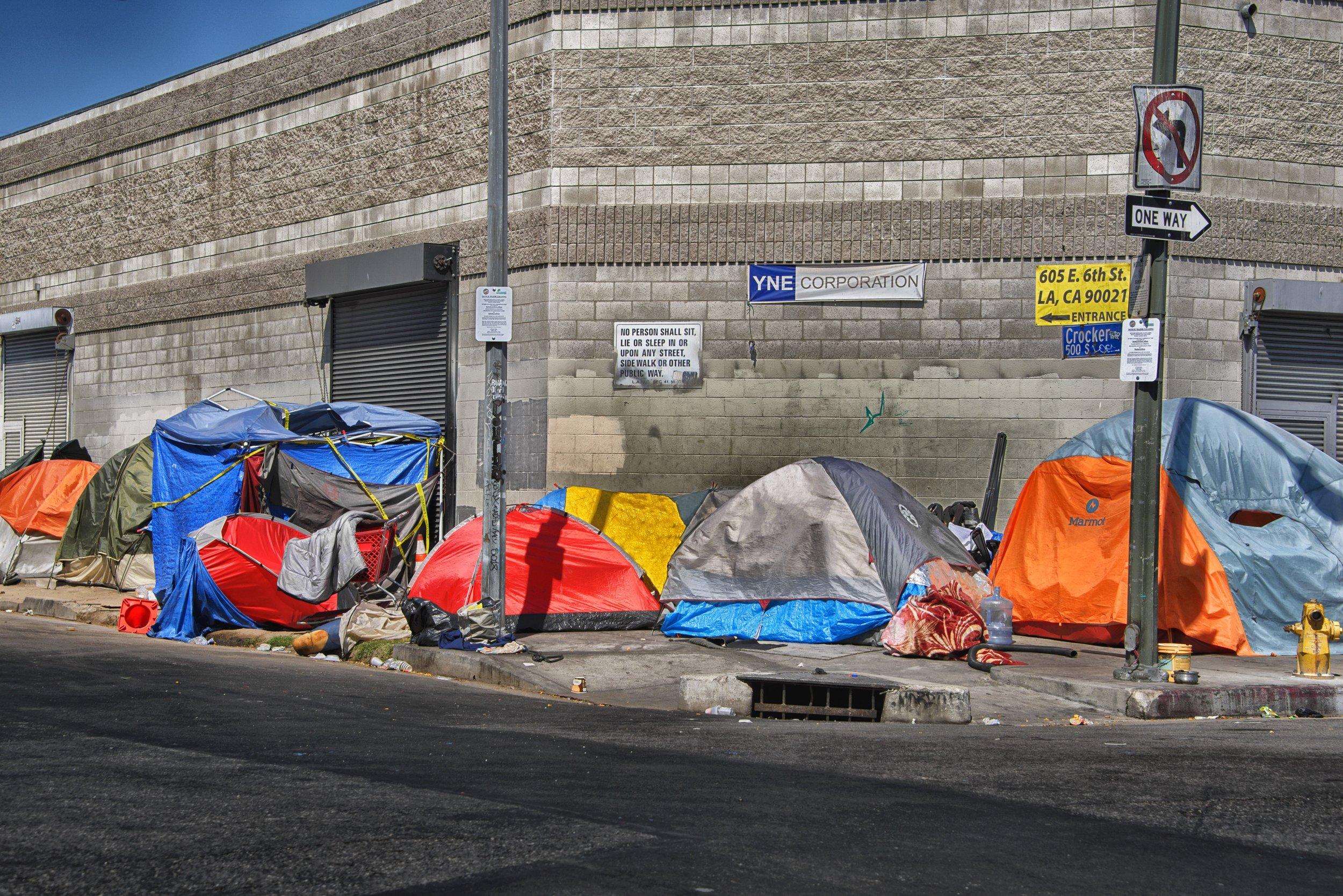 Tent city in Skid Row in Los Angeles, CA. (Photo by:  Russ Allison Loar )
