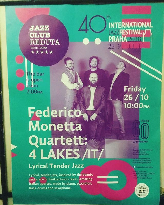 Tonight at 10 p.m.  See you in Prague ;) #redutajazzclub #prague @federicomonetta @manuelpramotton @alessandromaiorino