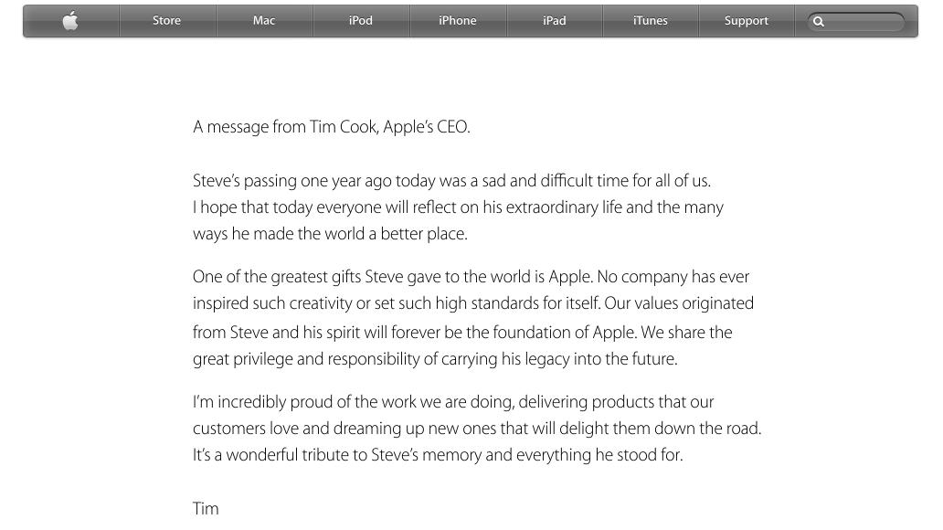 Apple's Tribute to Steve Jobs