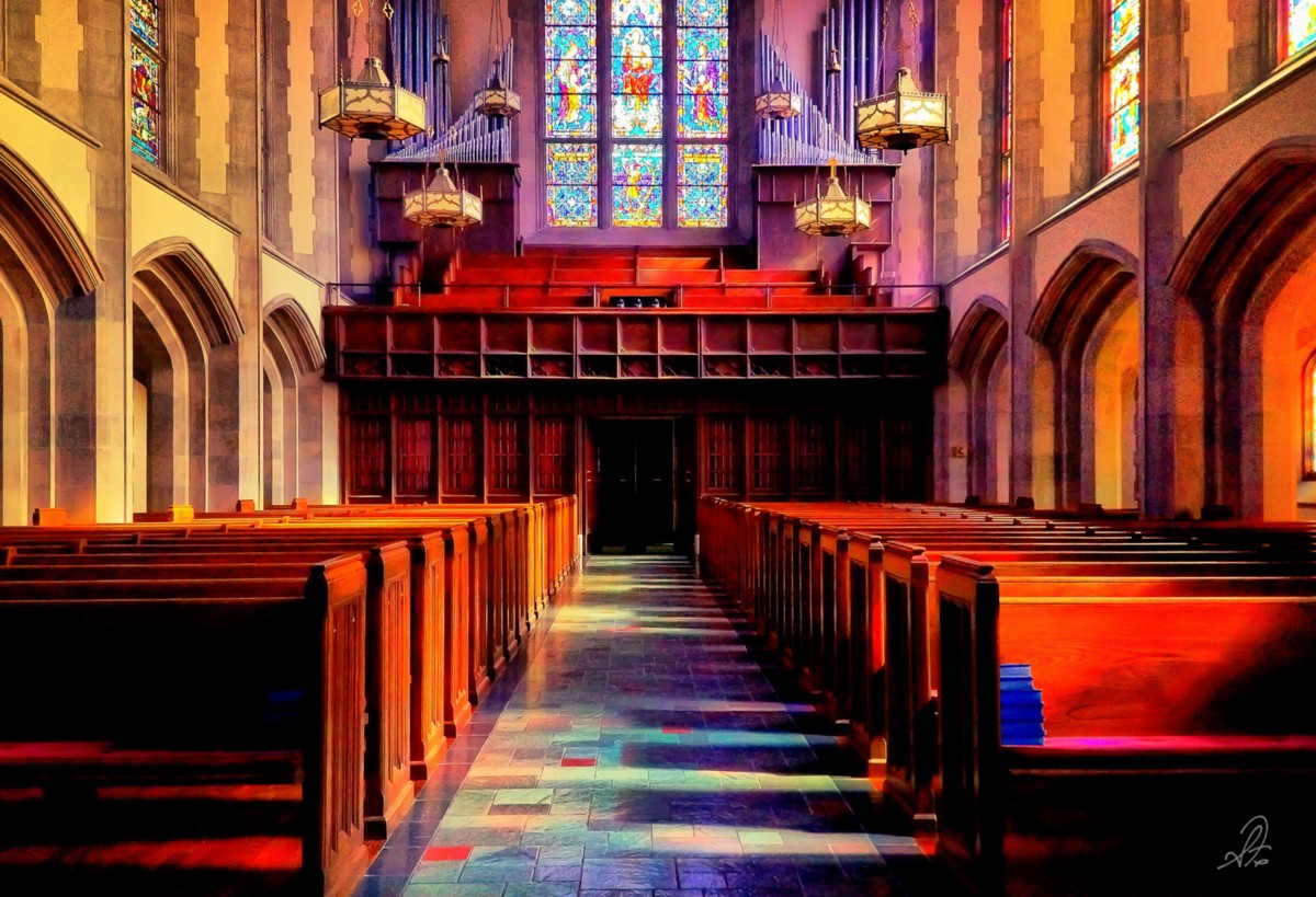 The inside the main sanctuary of Independent Presbyterian Church in Birmingham AL shot on the iPhone 5 in 2012.