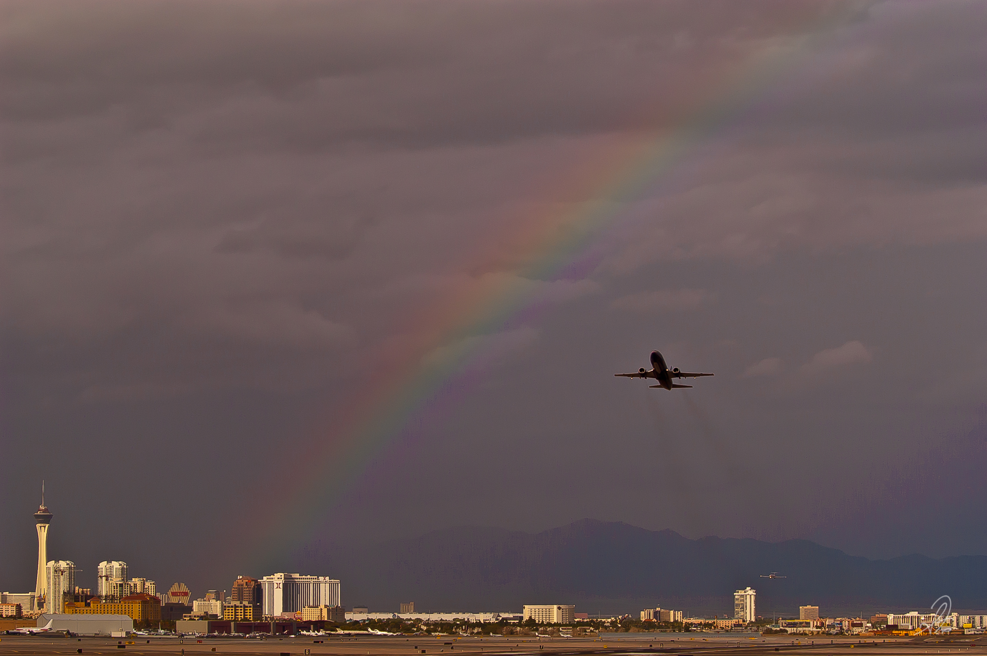 Rainbow Over the Las Vegas Strip from McCarran Airport