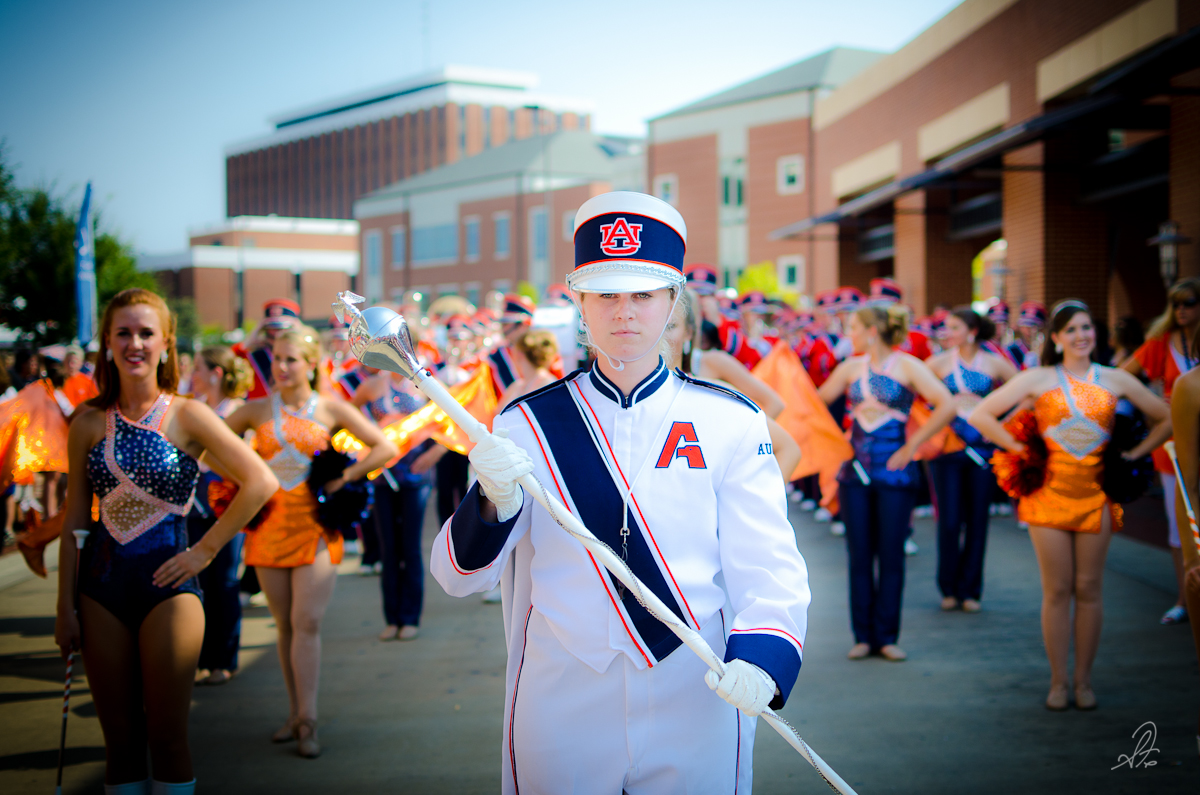 Drum Major Directs the Auburn Marching Band