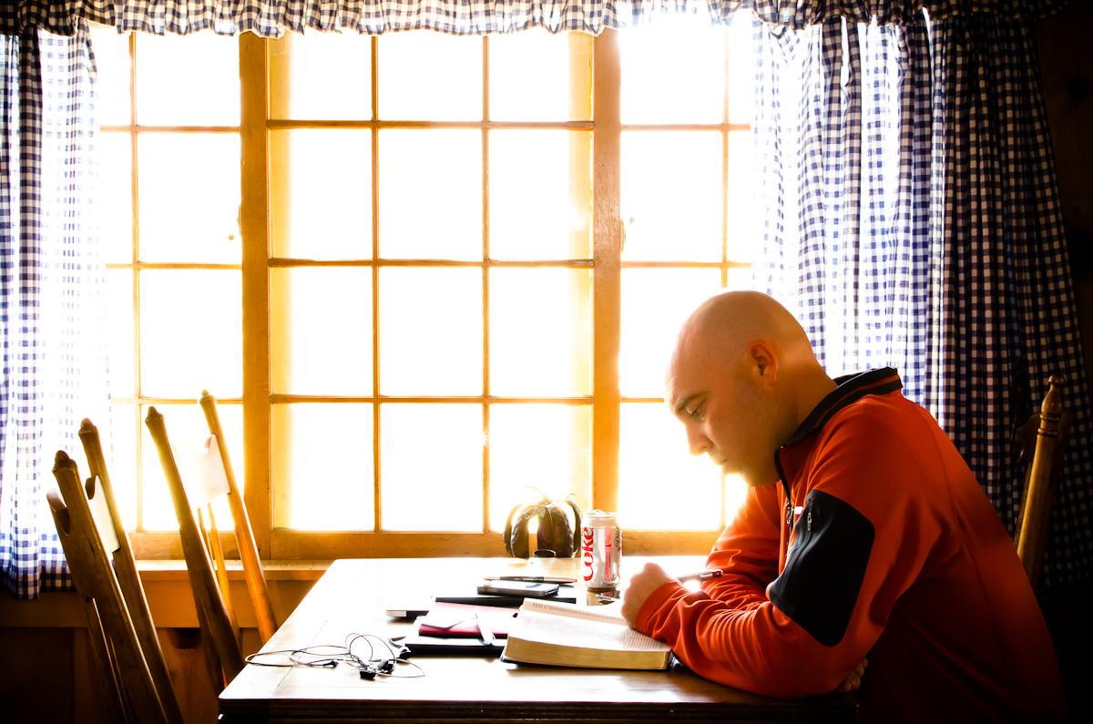 Scott Self Portrait Reading at the Cabin