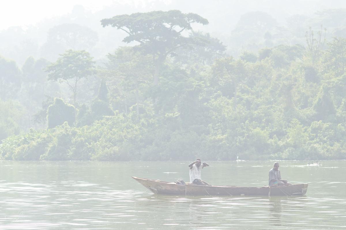 Fisherman on Lake Victoria in Heavy Smog