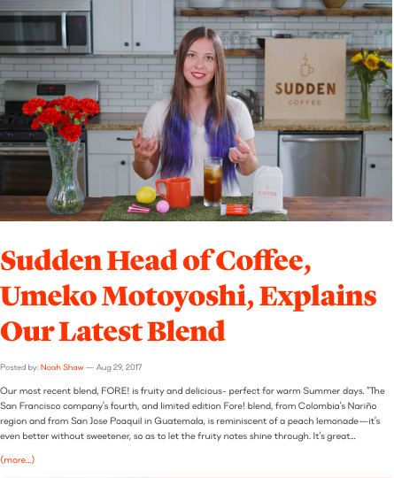 The Sudden Coffee Blog