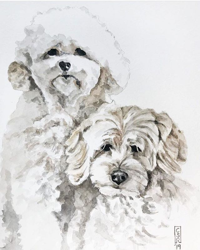 I am 100% the type of person who has professional pictures of their pets. This one I call, Madonna and child. Can't get over the portrait of my beloved dogs by @mikodlrpaints from @gauchalopez 😍 I need a copy!!! Next up I want a cross stitch portrait of Badger.