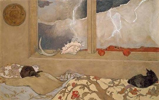 Stormy weekend mood ⛈😴 Susan Bright Lautmann Hertel, American artist 1930-1992