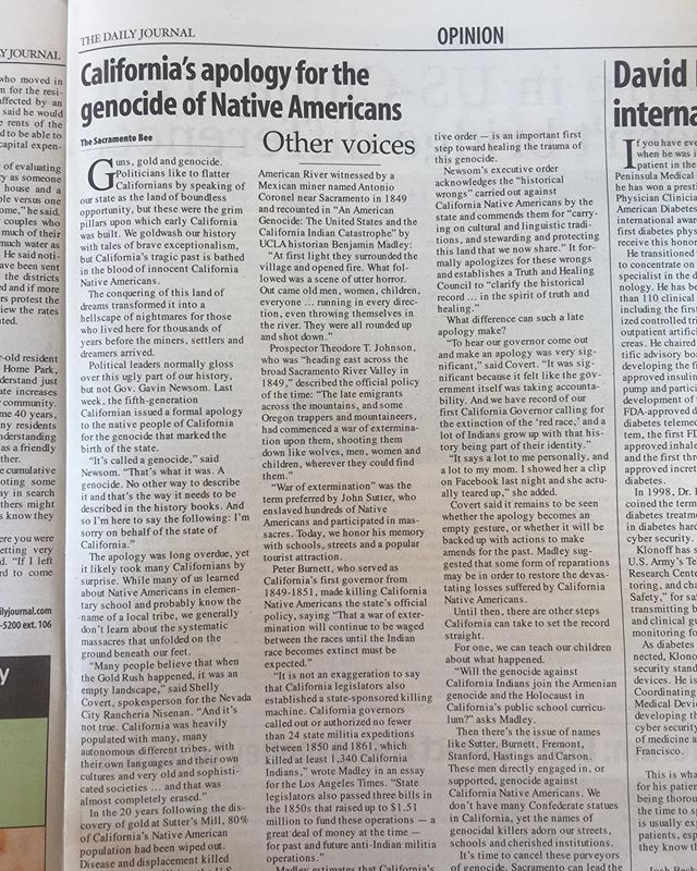 "This is the first time I've ever seen American colonial history refer to what it did to indigenous Americans as a genocide. Well done Sacramento Bee for calling it what it was, ""We goldwash or history with tales of brave exceptionalism, but California's tragic past is bathed in the blood of innocent native Americans."" #americanhistory #californiahistory #sacramentobee"