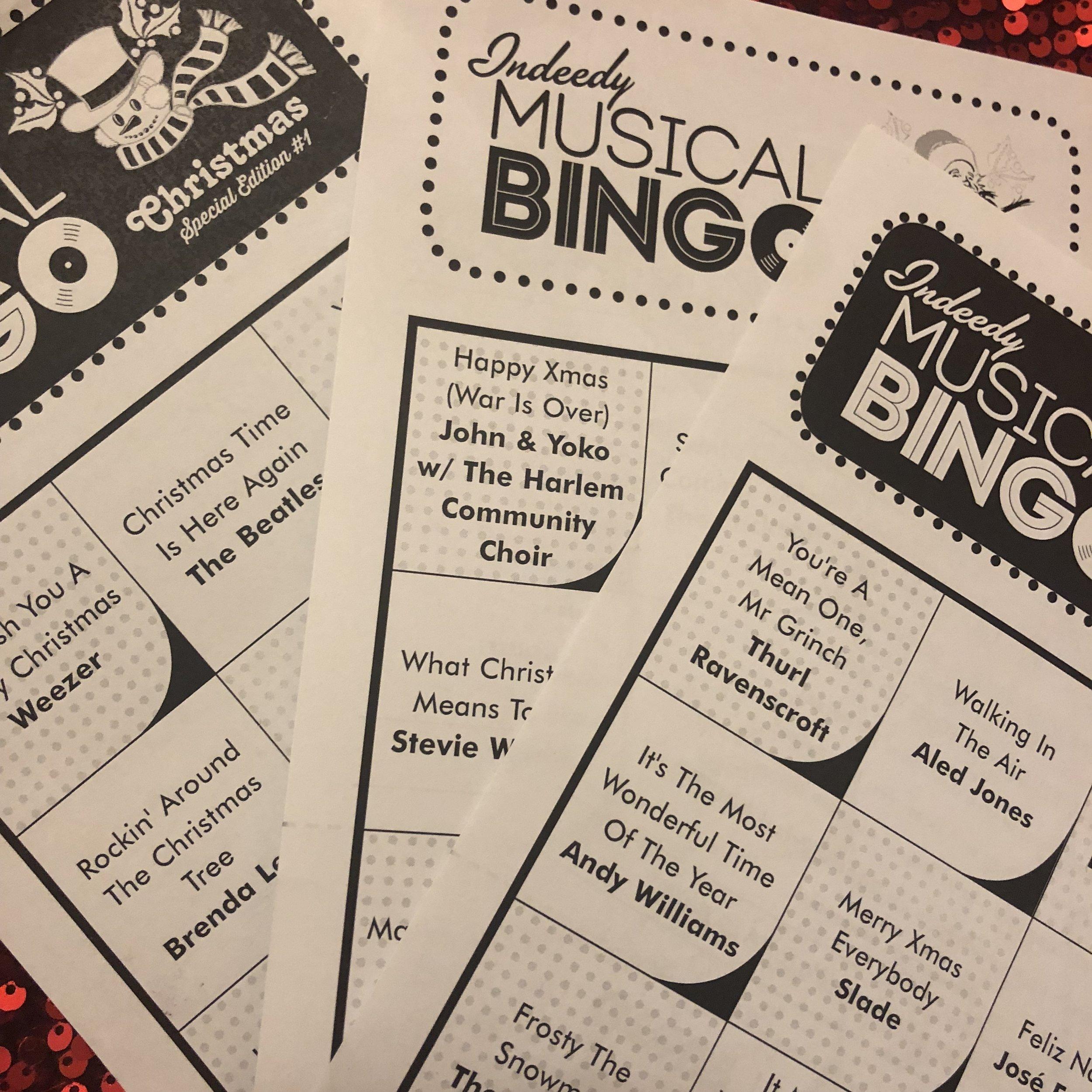 Indeedy Christmas Musical Bingo