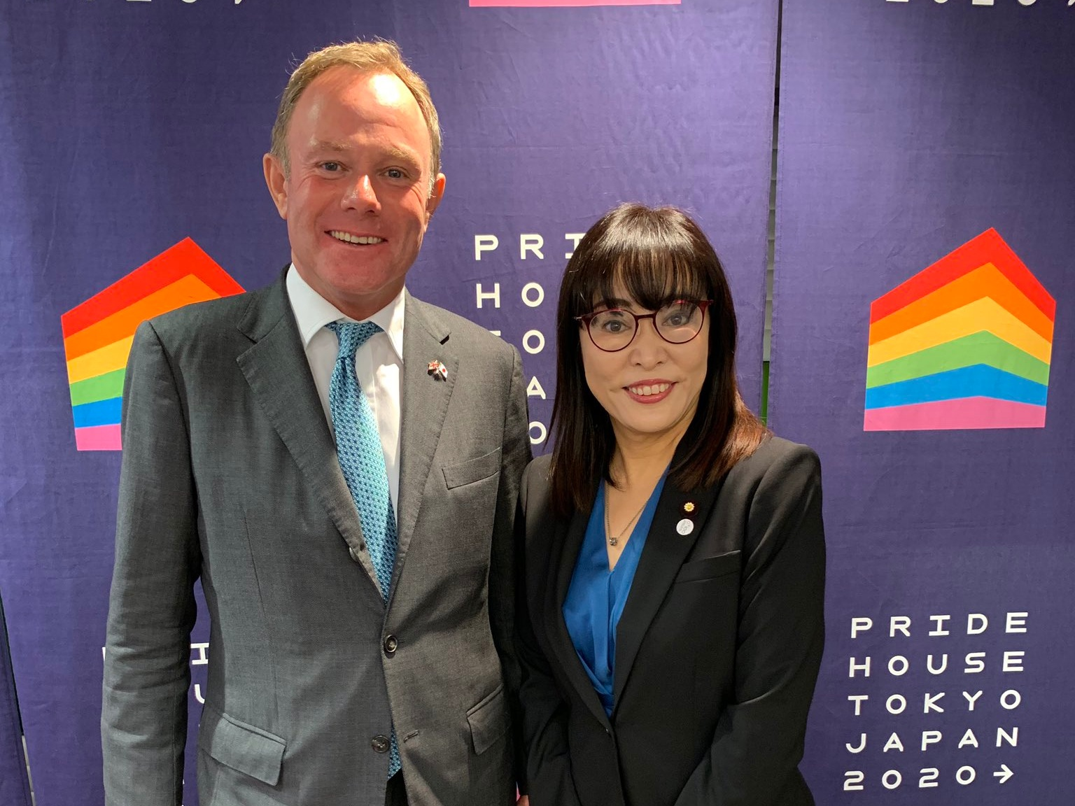 Caucus Chair Nick Herbert MP meets with Senator Masako Mori at Pride House Tokyo.