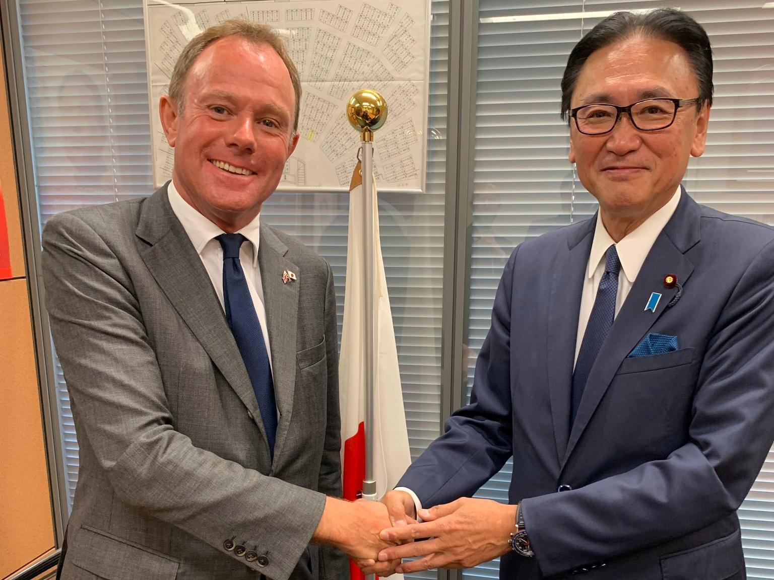 Nick Herbert MP with Representative Keiji Furuya, Chair of the LDP's LGBT Committee, at the Japanese Diet.