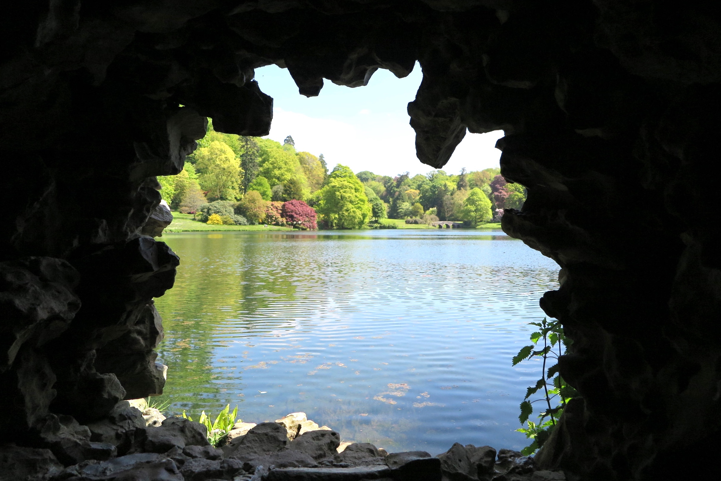 The view  of the lake from the grotto