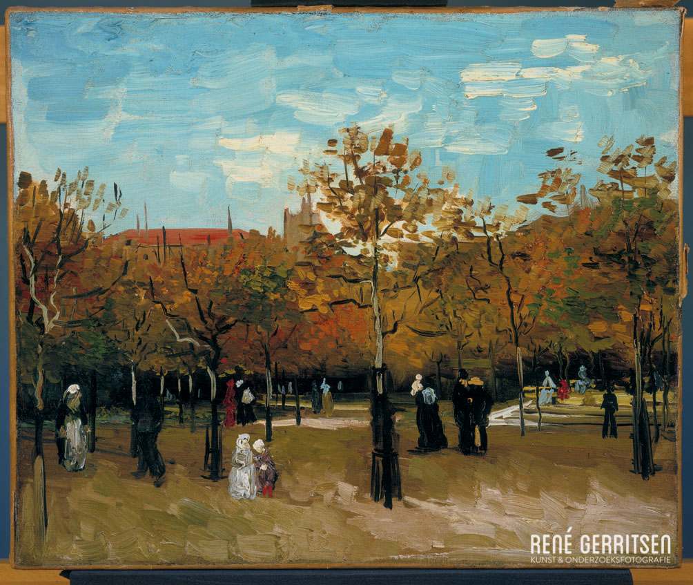 'Wandelaars in een park, Parijs' uit 1886 door  Vincent van Gogh