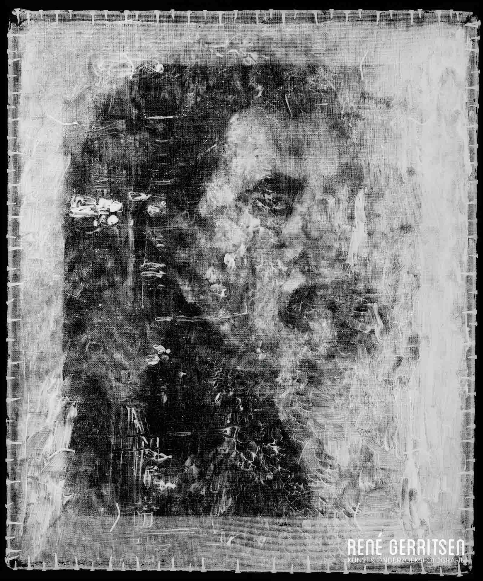 Hetzelfde schilderij 90º gedraaid, waar met behulp van een röntgenfoto nu ook duidelijk een gezicht zichtbaar is. Mogelijk gaat het hier om  het vroegste zelfportret van Van Gogh .