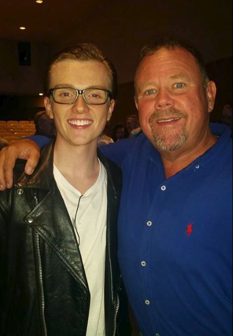 "Collin and our dad, Dave, after his performance in ""Grease"" with the Waco Children's Theater."