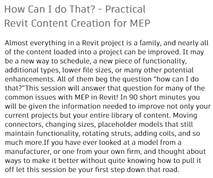 How Can I do That? - Practical Revit Content Creation for MEP
