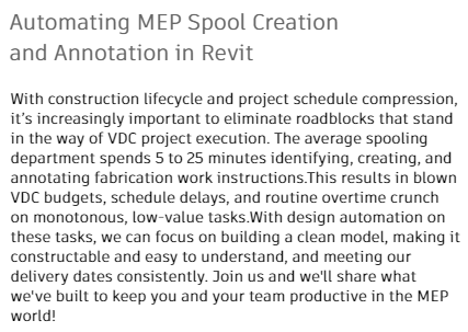 Automating MEP Spool Creation and Annotation in Revit