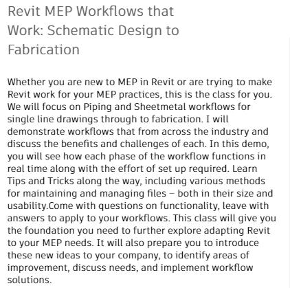 Revit MEP Workflows that Work: Schematic Design to Fabrication