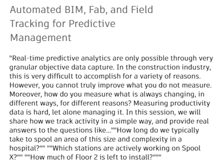 Automated BIM, Fab, and Field Tracking for Predictive Management