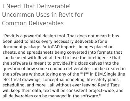 I Need That Deliverable! Uncommon Uses in Revit for Common Deliverables