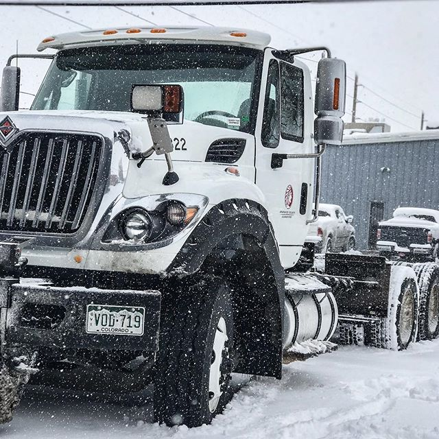 We don't let the snow slow us down! Stop by or call us for a quote on your next project or repair! . . . . #trucks #truckrepair #internationaltrucks #localbusiness #denvertrucks #automotive #trucking #suspension #liftkit #liftedtrucks