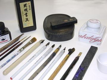 Traditional tools are used to produce the sense of history - Bamboo and brush and metal broad and pointed pens provide a wide variety of styles for our prints.