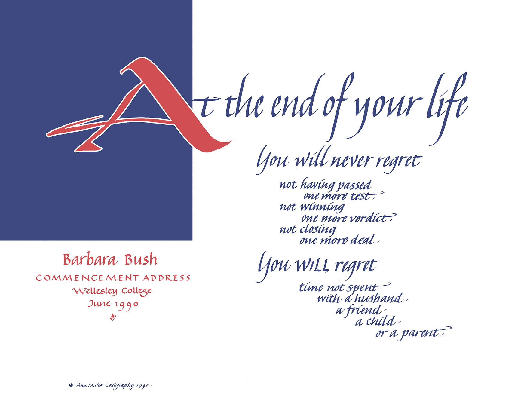 No Regrets - Barbara Bush Speech